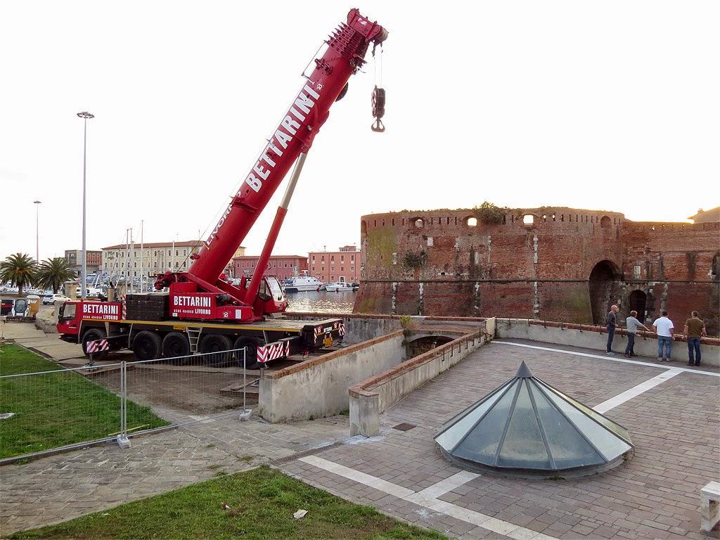 Preparatory works for the new footbridge, Fortezza Vecchia, Livorno
