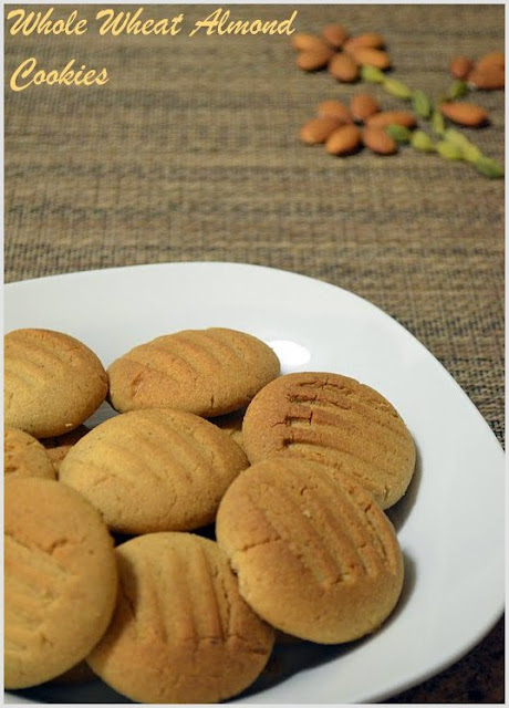 Whole Wheat Almond Cookies ~ Nalini'sKitchen
