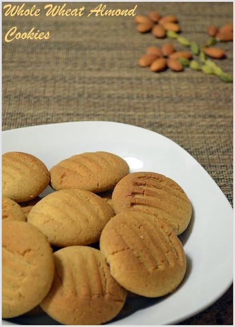 Whole Wheat Almond Cookies ~ Nalini'sKitchen