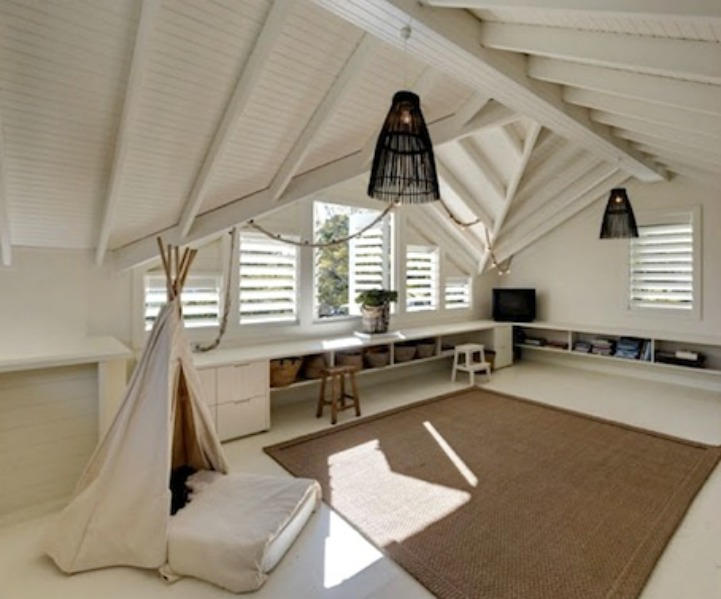 Coastal beach house playroom with teepee