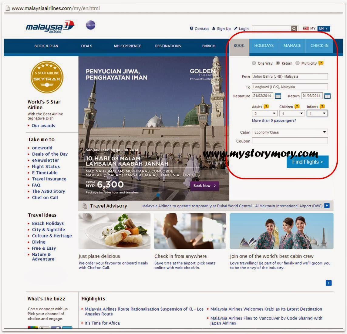 Cara Beli Tiket Flight MAS Airlines