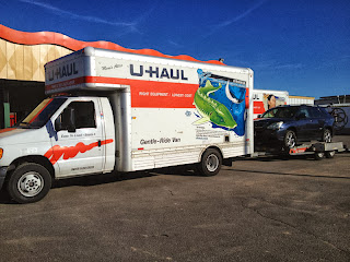 Loaded up and ready to go at the U-Haul place in Grand Junction