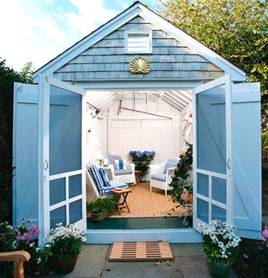 Turning a Garden Shed into a Nautical Seaside Escape Completely