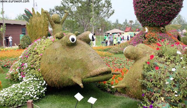 Peces en un jardín de la Expo de Jardines de la Bahía de Suncheon