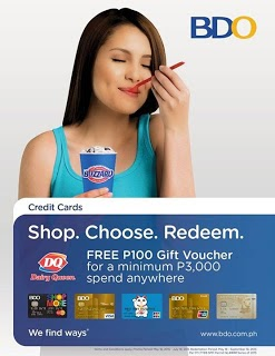 BDO shop anywehere Free DQ, BDO Credit Card Promo, credit card promotion