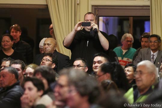 Kim Dotcom, founder, funder, Internet Party - Internet Mana meeting at Cheval Rooms, Hawke's Bay Racecourse, Hastings photograph