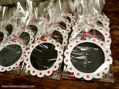 DIY chalkboard valentines wrapped in cellophane