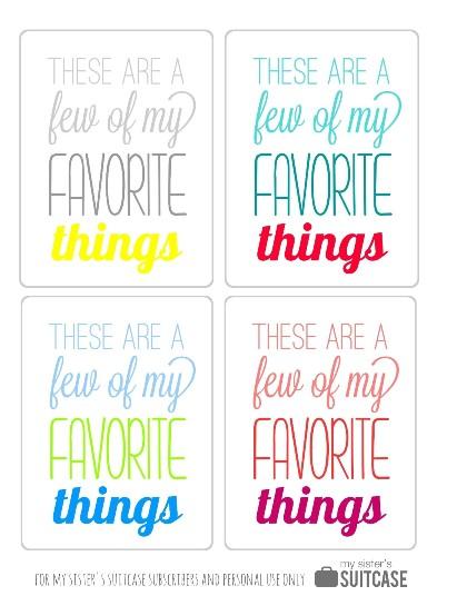 My Favorite Things Gift Idea Printable My Sister 39 S