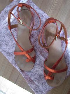orange metallic sandals