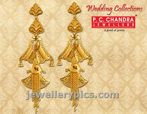 PCChandra Gold Earrings Wedding Collection Latest