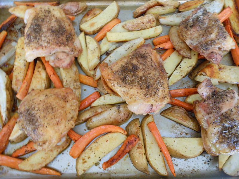 Flavors by Four: Roasted Chicken Thighs with Carrots and Potatoes