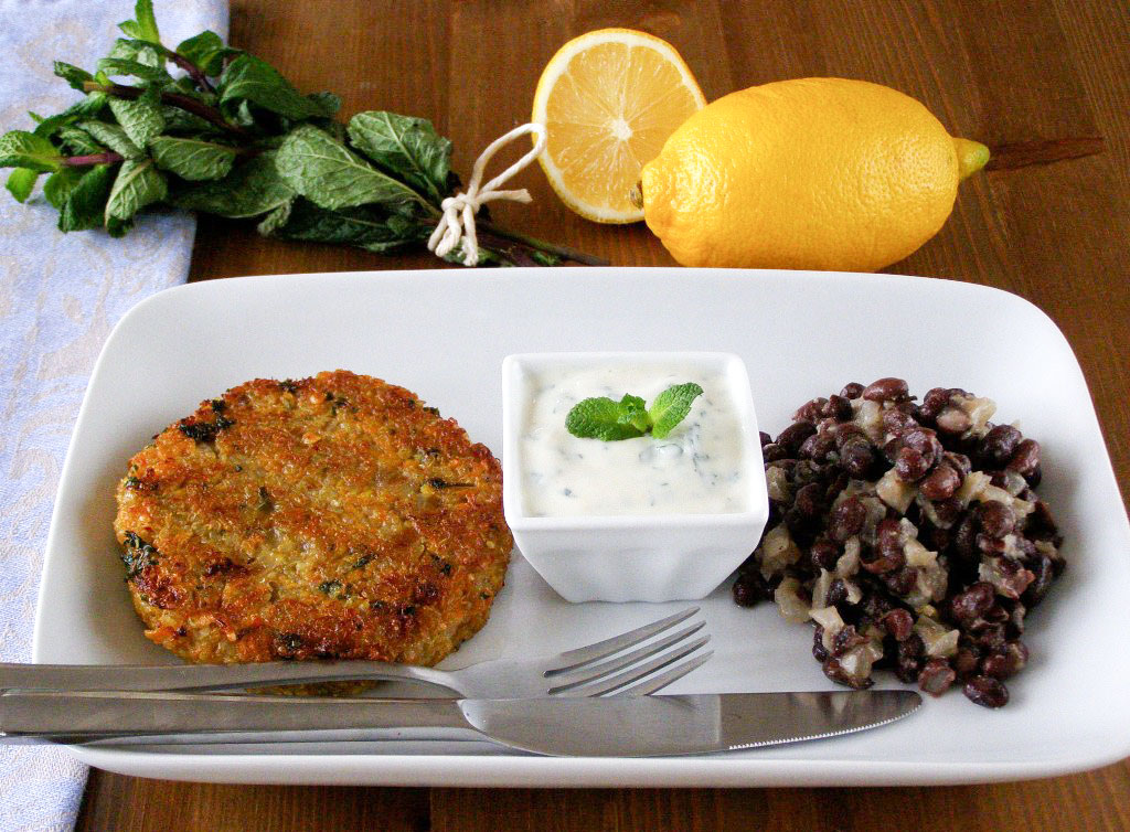 Spiced Quinoa and Sweet Potato Cakes with Lemon Mint Yogurt and Black ...