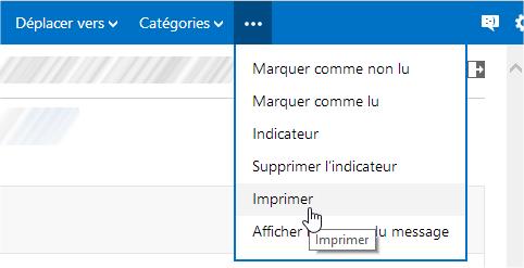 capture d'écran Outlook.com dans un navigateur Web