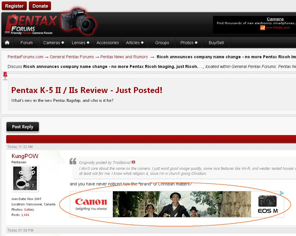 Pentax Forums Now Host Official Canon Ads, Not Pentax Nor Ricoh's! :-o