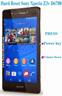 Hard Reset  Sony Xperia Z3v by hardware buttons