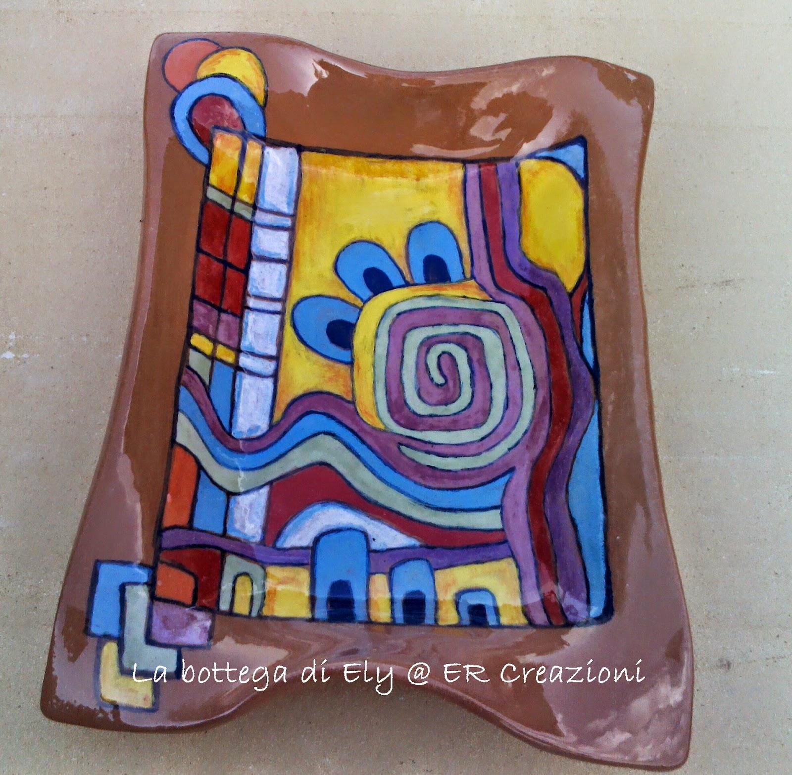 piatto in ceramica rettangolare cotto e colorato