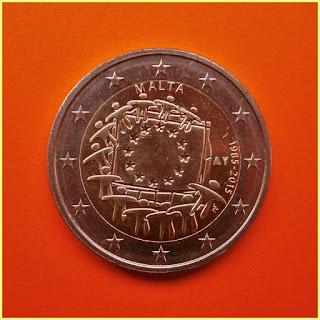 2 Euros Malta Bandera 2015