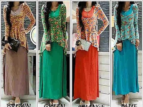 Dress Panjang Bermotif AW3061
