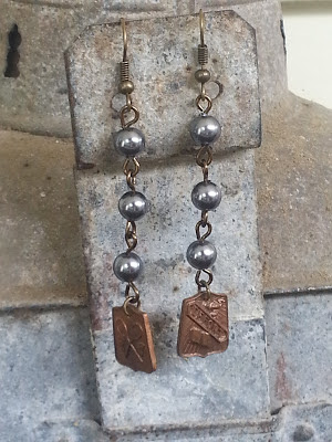 assemblage earrings with vintage pearls and recycled school medals