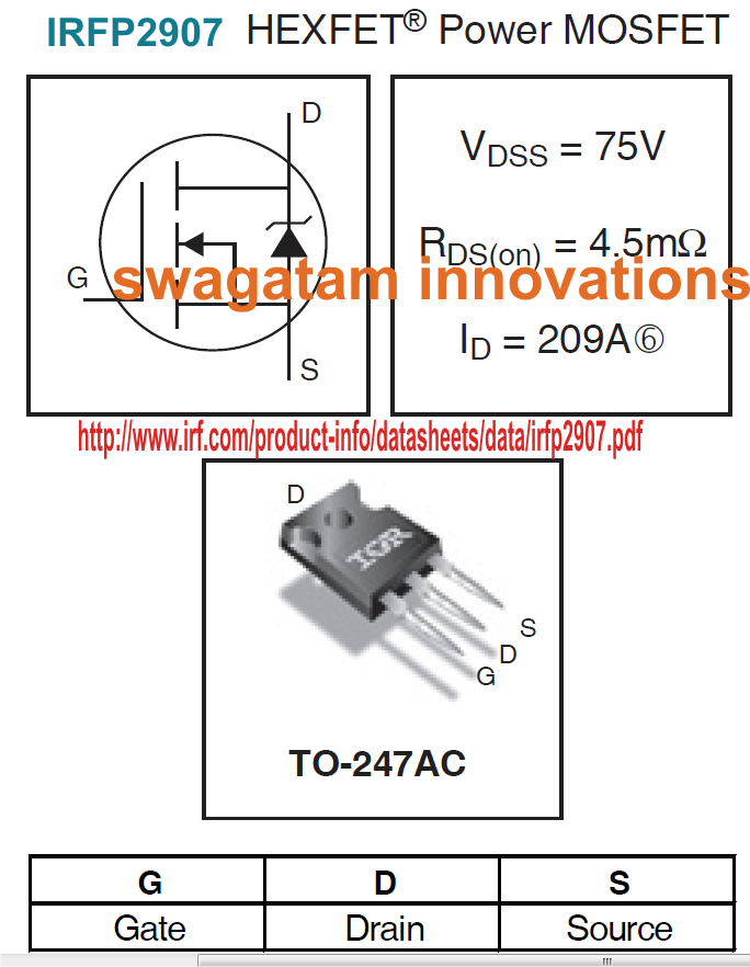 High Current Mosfet Irfp2907 For Wind Turbine Applications