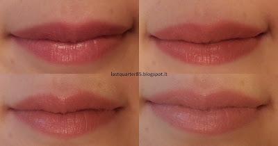 ELF Mineral Lipstick:  da sinistra a destra sopra Pouty Petal e  Party Pink, sotto Rosy Raisin e Runaway Pink.