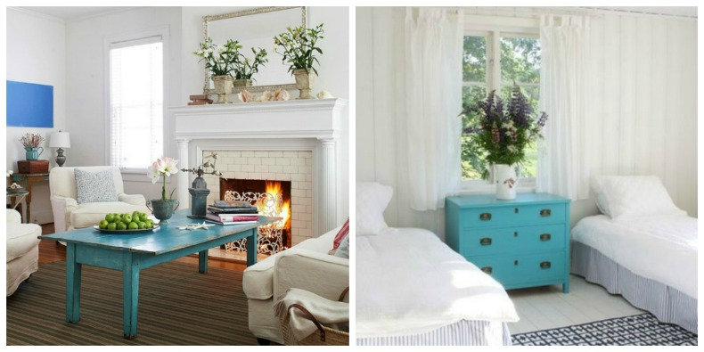 Coastal Rooms With Aqau Painted Furniture For A Splash Of Color