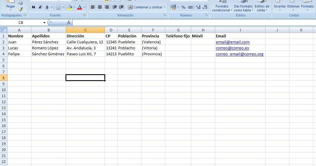 de word y otros programas: Combinación de correspondencia para ...