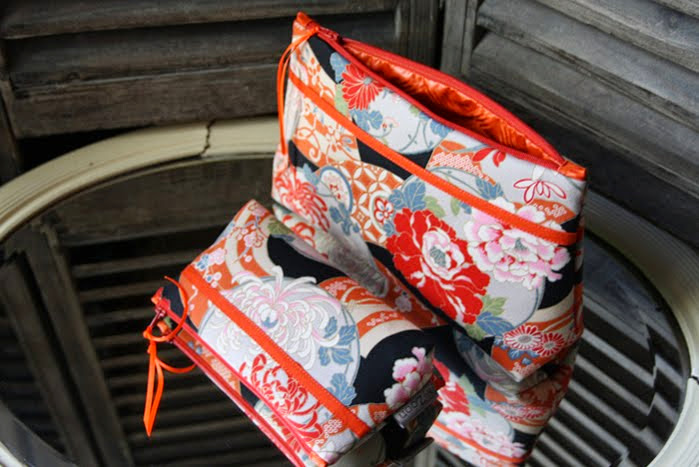 grande & mini trousse geisha orange