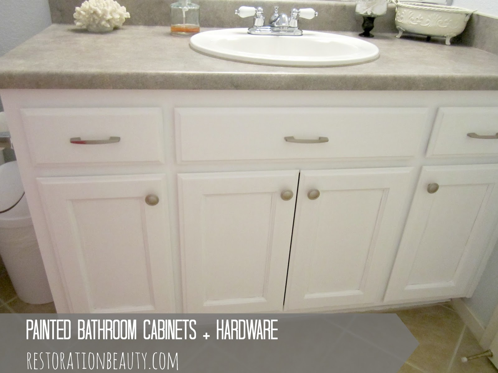 Restoration beauty painted bathroom cabinets hardware Paint bathroom cabinets
