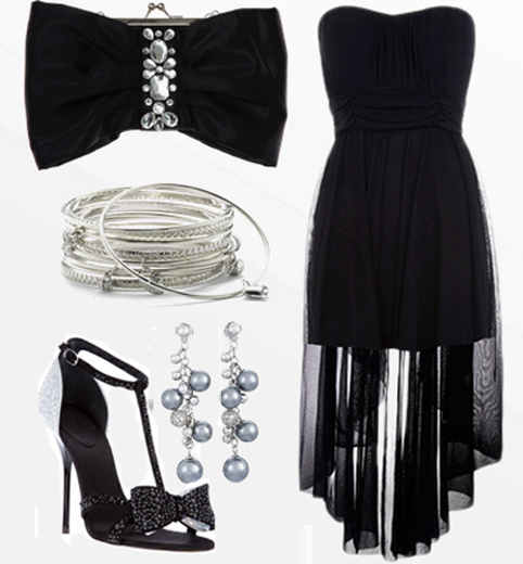 Black gown, bracelet and high heel sandals for ladies