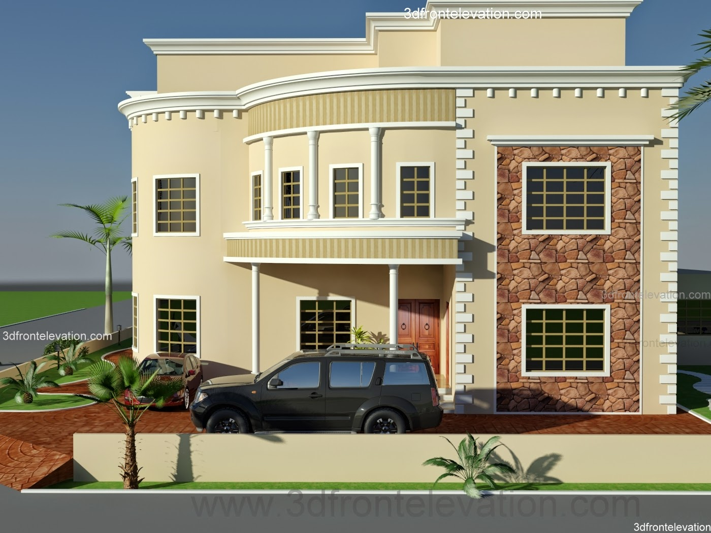 Front Elevation Villas : D front elevation saudi arabia villa floor plan design