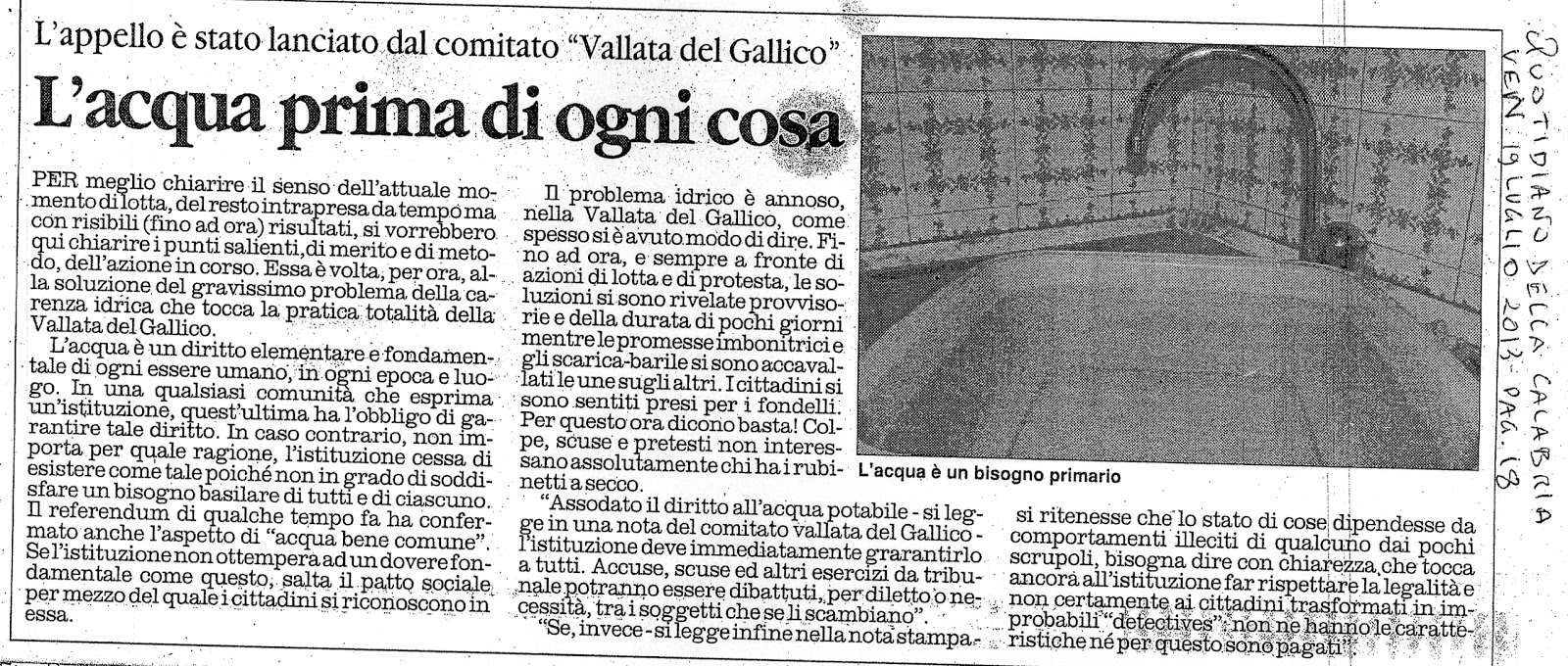 Articolo Quotidiano della Calabria del 19.07.2013 - pag.18