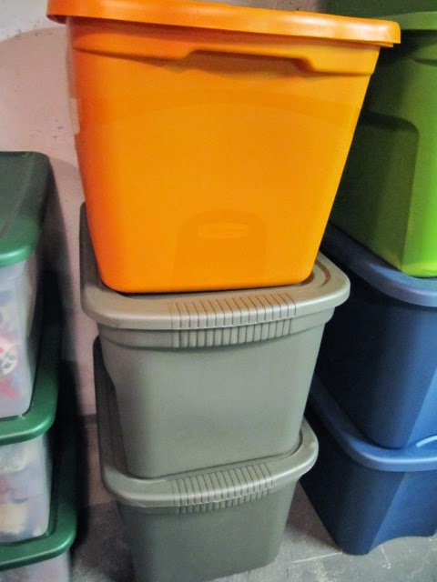 color coded storage boxes