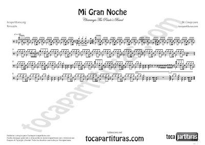 Mi Gran Noche Partitura de Percusión y Batería de Raphael Sheet Music for Drum and Percussion