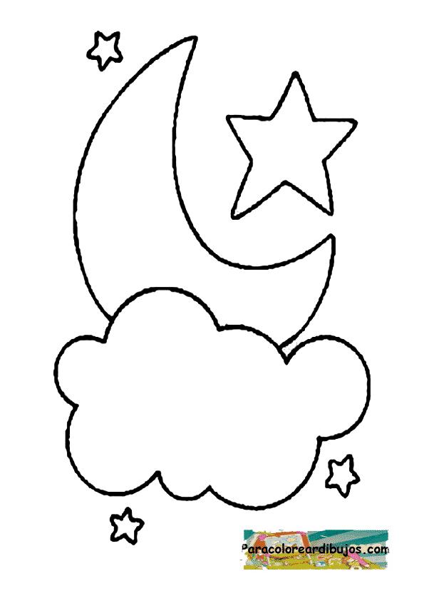 luna estrellas y nubes colorear | Colorear dibujos