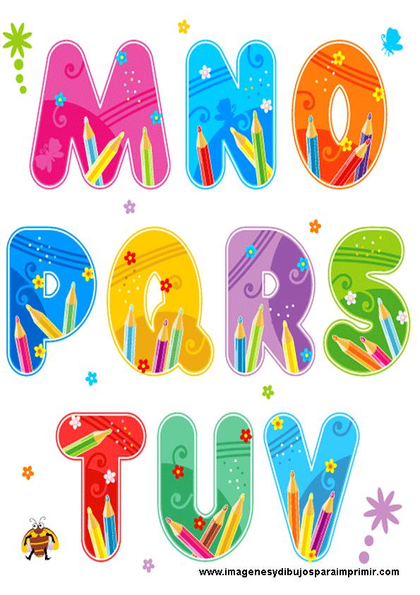Abecedario escolar para imprimir - Letras decorativas para ninos ...