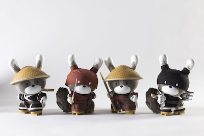 "Kidrobot Night & Day Black & Red Raku 8"" Dunnys by Huck Gee"