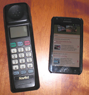 The early Novatel HandPortable wireless phone was later referred to as the brick phone