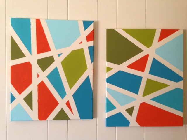 Deb sues creations painted fabric and painters tape canvas for Tape painting on canvas