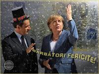 Funny photo Merkel Sarkozy O Tannenbaum Felicitari sarbatori iarna