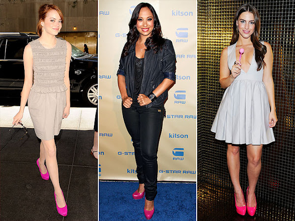 Emma Stone and Jessica Lowndes hot pink shoes