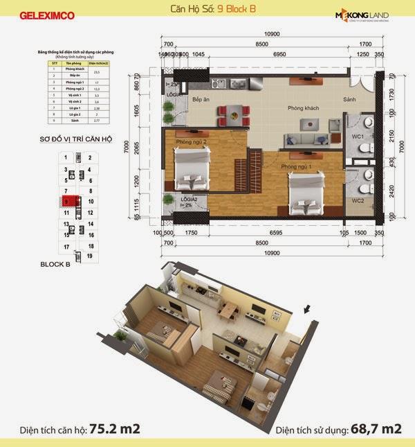 Dự án Chung cư Gemek Tower căn 68,7m2