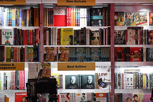 books in English  on display in a bookshop