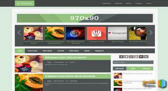 G Vusion Responsive Blogger Template - Mẫu thiết kế đẹp 2014