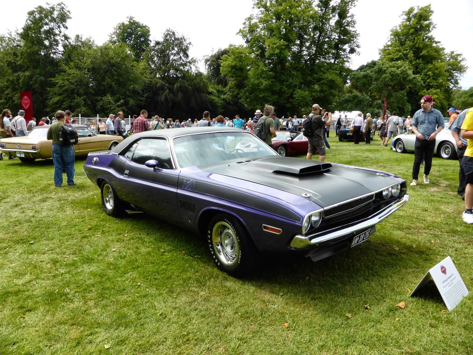 Plymouth Barracuda in the Cartier paddock in front of the house