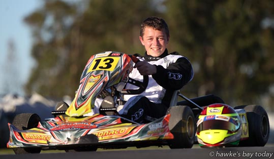 Maddison Wise, Napier, pictured at Kartsport Hawke's Bay (formerly the Hawke's Bay Karting Club), Roy's Hill, Hastings, story about this weekend's fifth of six rounds in the Pro Kart New Zealand Series Rotax Challenge photograph
