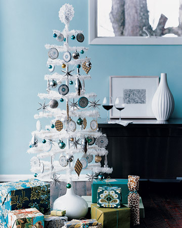 match the ornaments to your wall color white christmas tree can be decked up in any color and look gorgeous each time