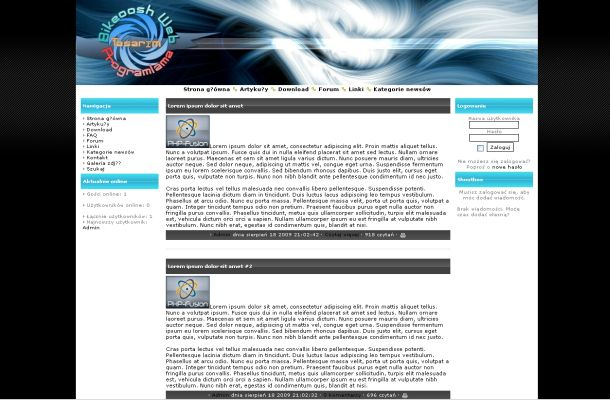 Business Black Blue Phpfusion Theme Template