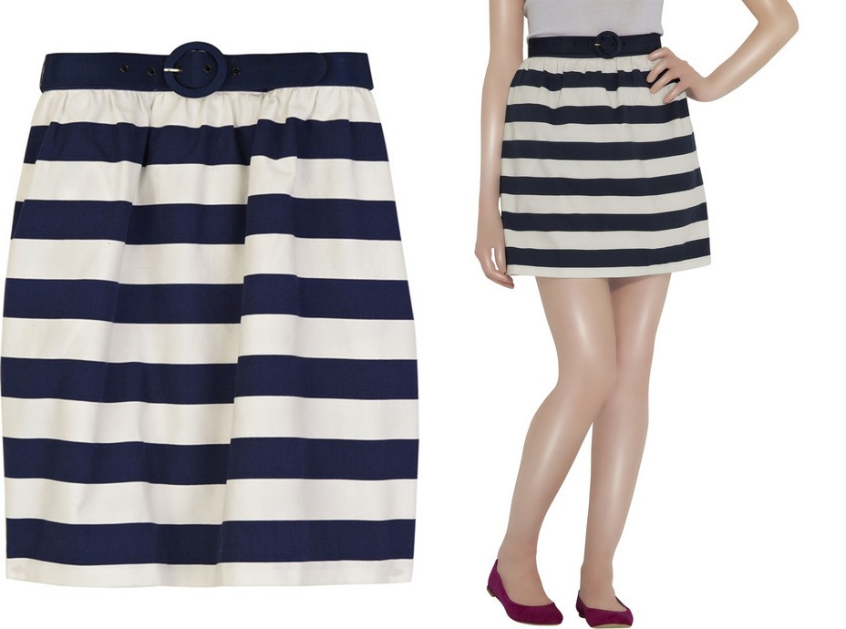 navy blue & white striped skirt DIY - Life is Beautiful