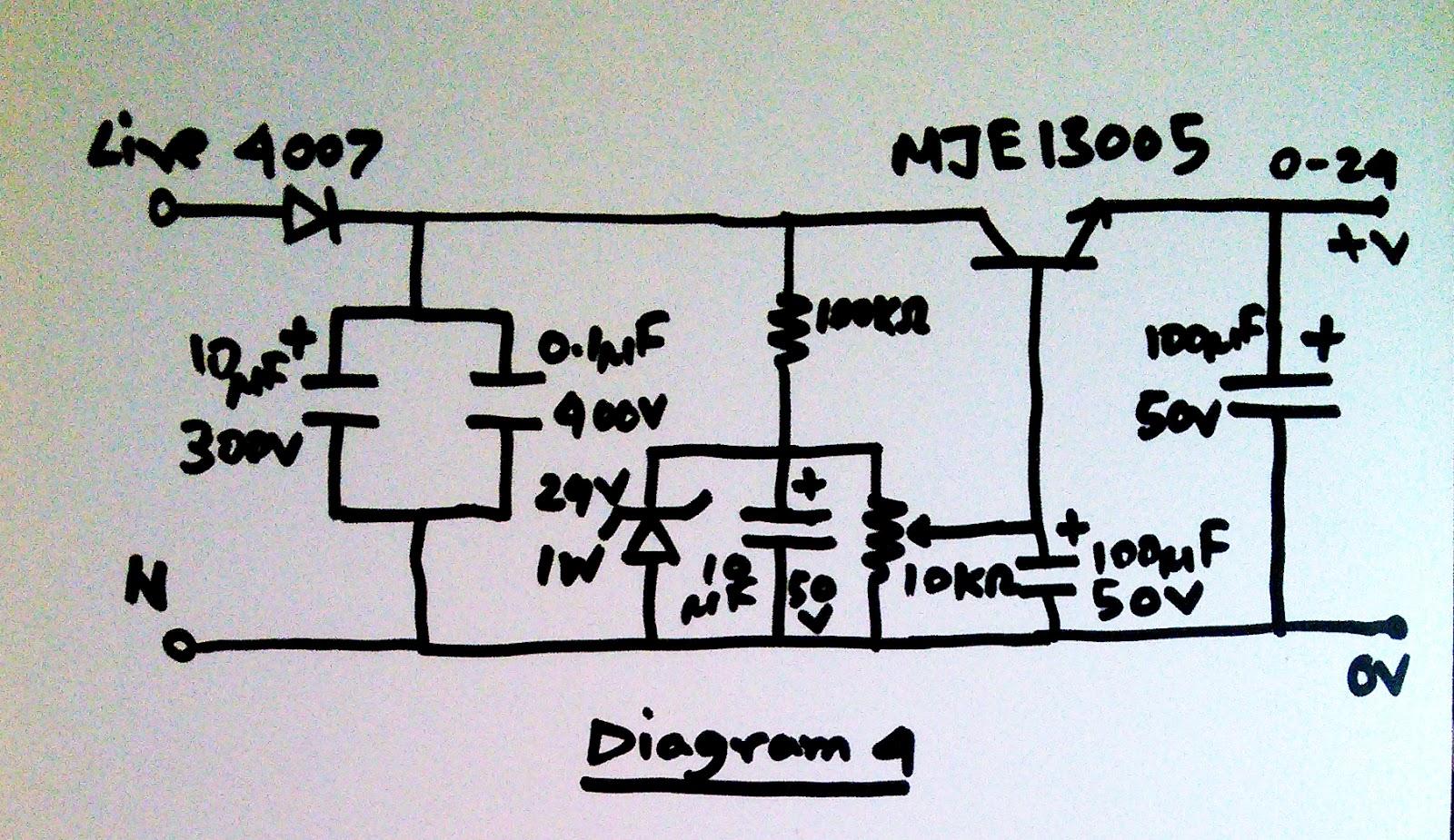 High Voltage Supply Diagrams Detailed Schematics Diagram 12 Volt Regulator Circuit Also Lm317 Scavengers Blog Transformerless Power Unit